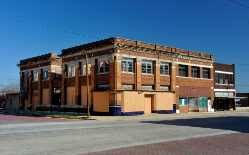 Main street building in serious disrepair