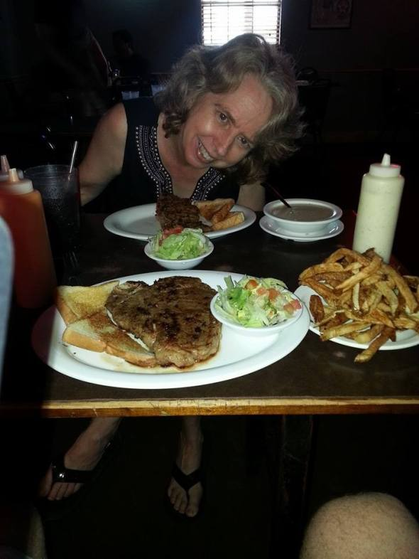 T-bone and small Chicken Fried Steak at Mary's Cafe'  We were eating light.